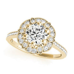 Designer Florette Shaped Diamond Halo Engagement Ring in Yellow Gold