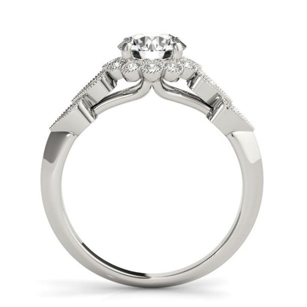 Olympic Style Halo Diamond Engagement Ring with Heart Shaped Diamond Sides