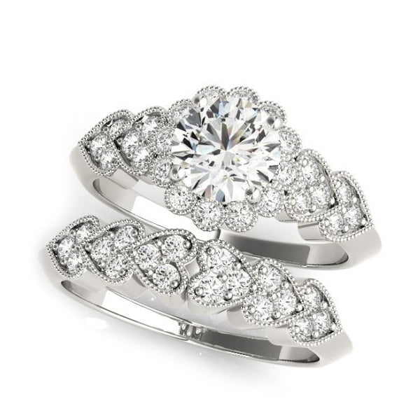 Olympic Style Halo Diamond Engagement Ring with Heart Shaped Diamond Sides with Matching White Gold Wedding Band