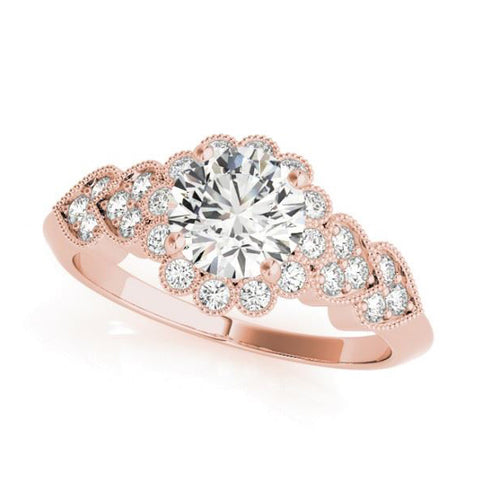 Olympic Halo Diamond Engagement Ring with Heart Shapes in Rose Gold