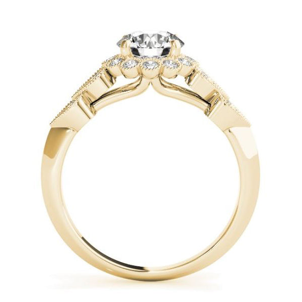 Yellow Gold Olympic Style Vintage Diamond Halo Engagement Ring SIde View