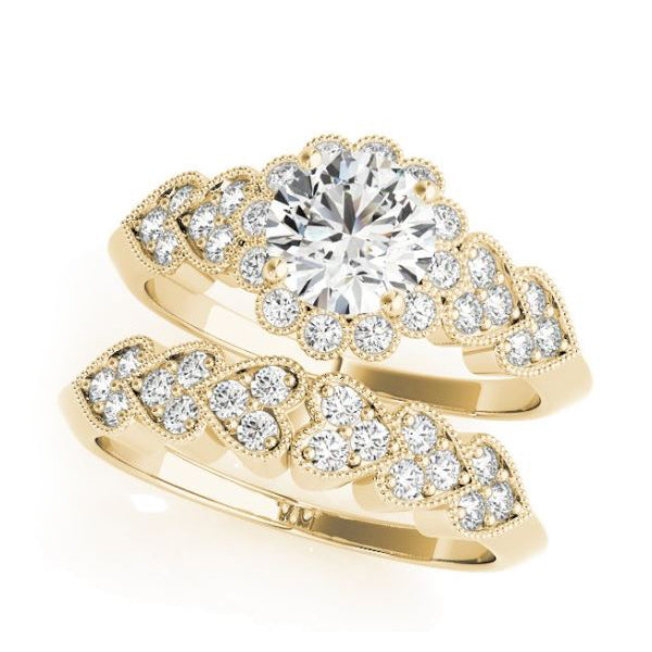 Yellow Gold Olympic Style Vintage Diamond Halo Engagement Ring with Matching Wedding Band Set