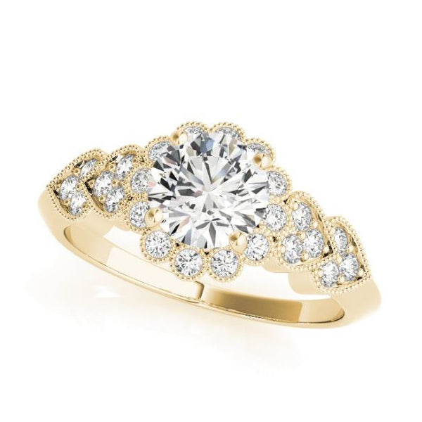 Yellow Gold Olympic Style Vintage Diamond Halo Engagement Ring