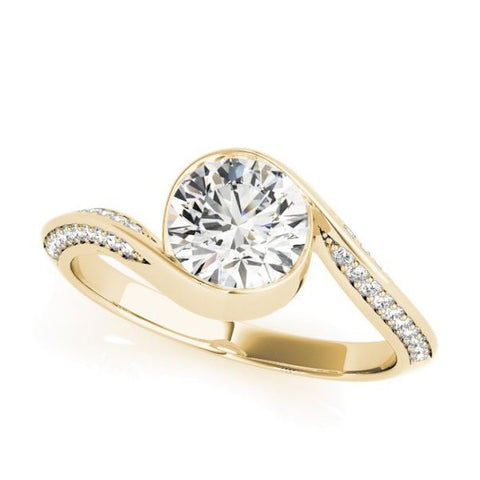 Designer Bypass Diamond Engagement Ring with Round Bezel Top in Yellow Gold