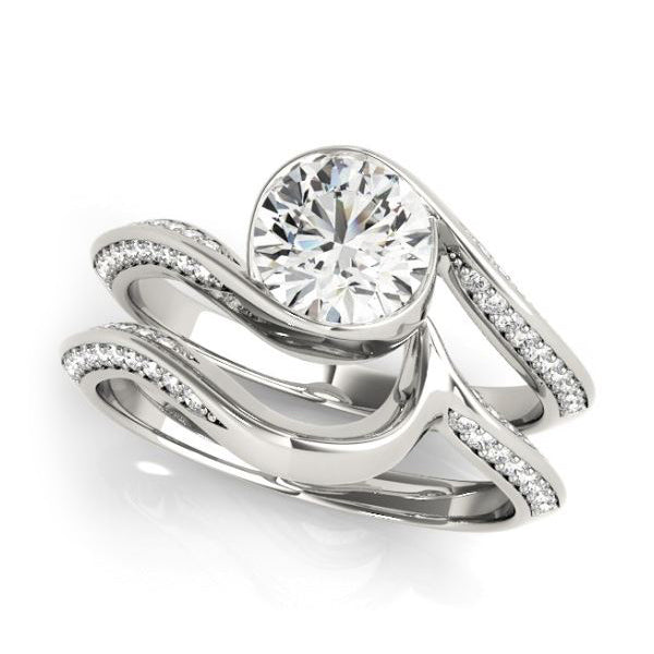 Bezel Set Diamond Engagement Ring with Bypass Design in White Gold