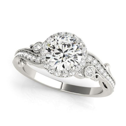 Round Halo Diamond Engagement Ring with Bypass Sides in White Gold