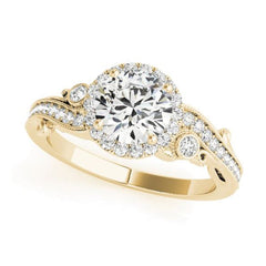 Affordable Round Halo Diamond Engagement Ring in Yellow Gold