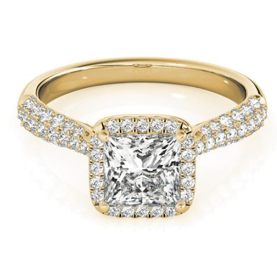 Princess Halo Diamond Engagement Ring in Yellow Gold with Pave Diamonds