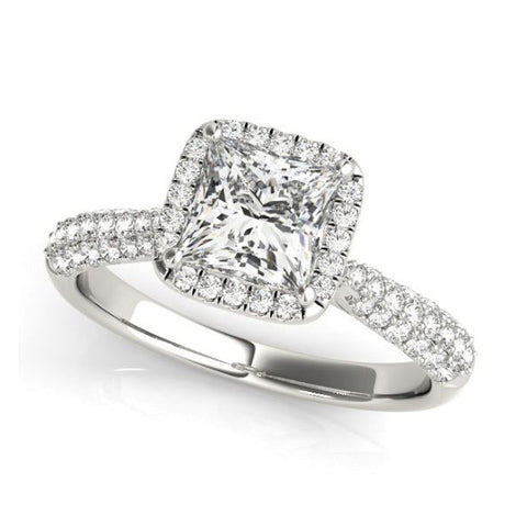 Princess Halo Diamond Engagement Ring in White Gold with Pave Diamonds