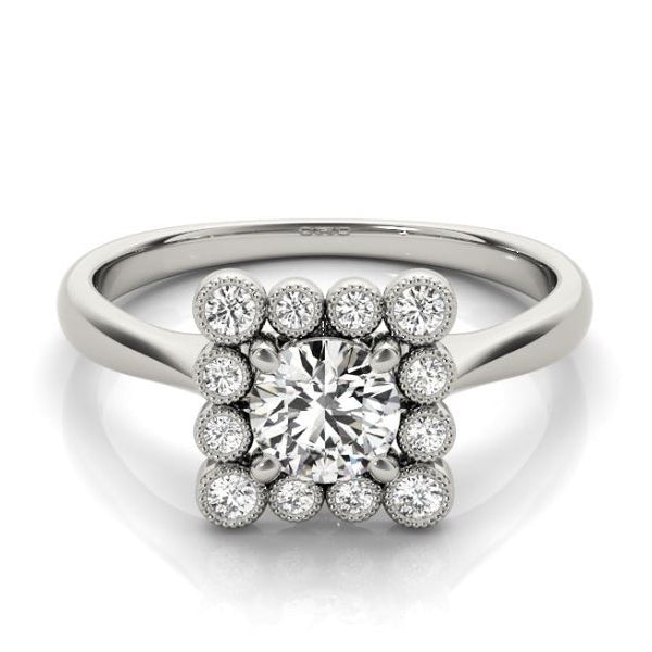 Princess Shaped Vintage Diamond Halo Engagement Ring in White Gold