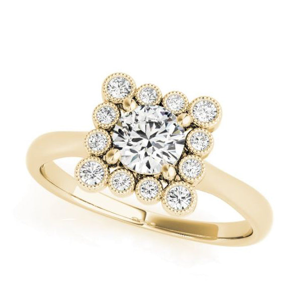 Yellow Gold Princess Shaped Halo Diamond Engagement Ring