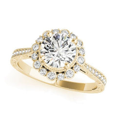 Yellow Gold Diamond Pave Halo Engagement Ring