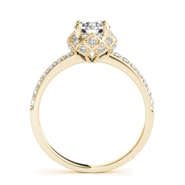 Vintage Diamond Pave Engagement Ring in Yellow Gold