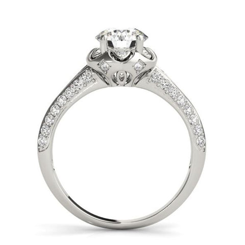 Scalloped Halo Diamond Engagement Ring with Pave Set Diamonds in White Gold