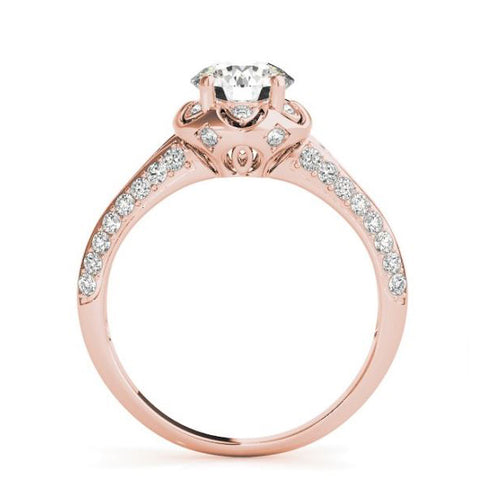 Scalloped Halo Diamond Engagement Ring with Pave Set Diamonds in Rose Gold
