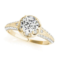 Scalloped Halo Diamond Engagement Ring with Pave Set Diamonds in Yellow Gold