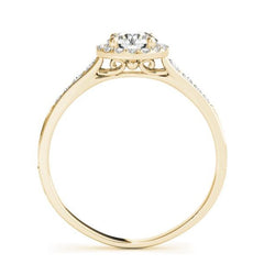 Round Halo Diamond Engagement Ring in Yellow Gold
