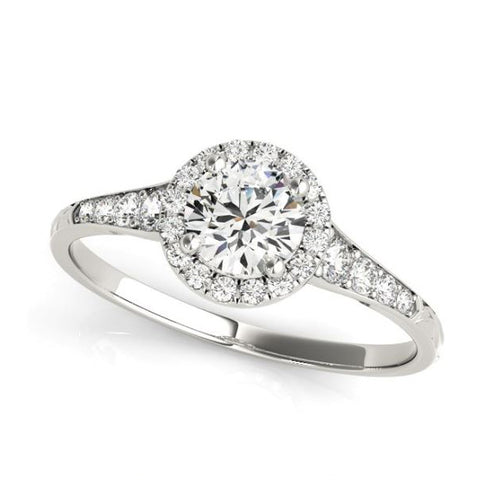 Round Halo Diamond Engagement Ring with Pave Diamonds in White Gold