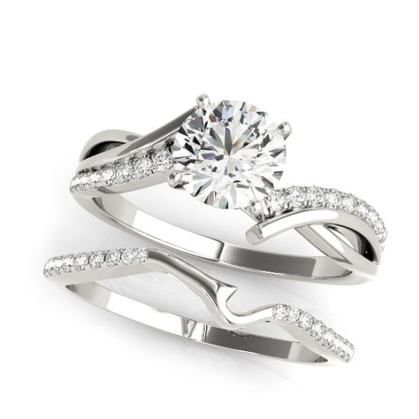 Crisscross diamond engagement ring in white gold