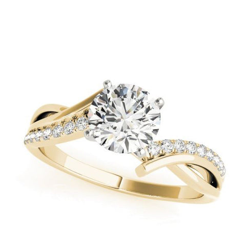 Crisscross diamond engagement ring in yellow gold