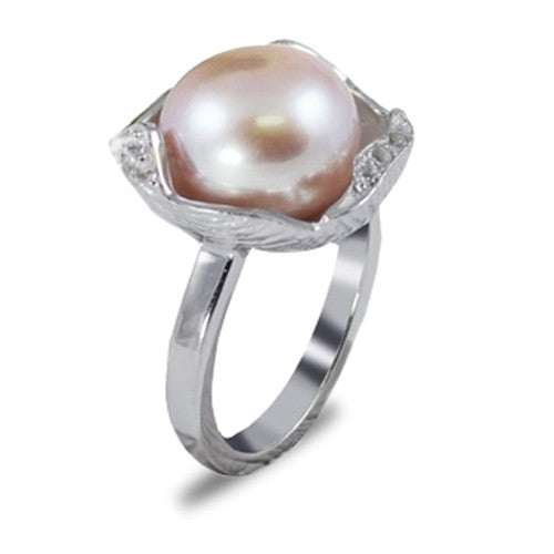 Lavender Freshwater Cultured Pearl Ring in Sterling Silver
