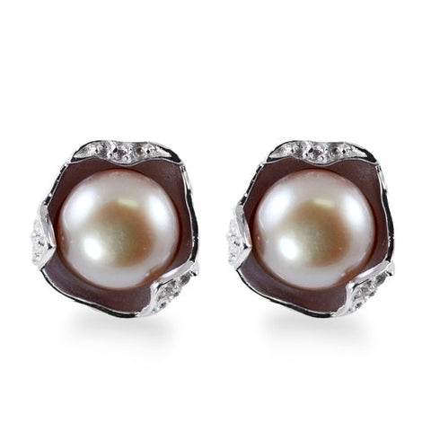 Sterling Silver Pearl and Topaz Earrings by Imperial