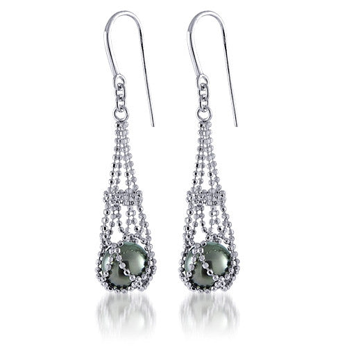 Lace Sterling Silver and Tahitian Pearl Earrings by Imperial