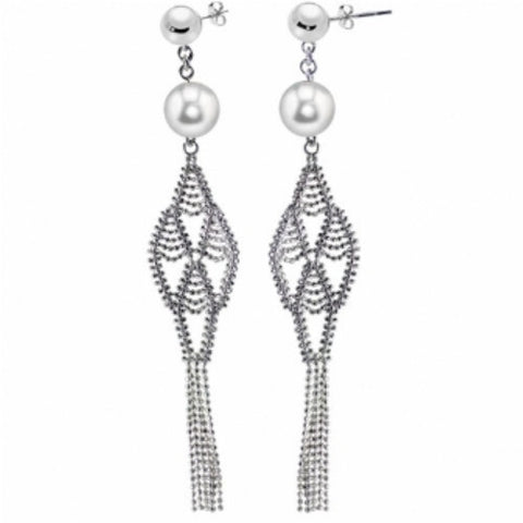 Lace Sterling Silver and Cultured Pearl Earrings by Imperial