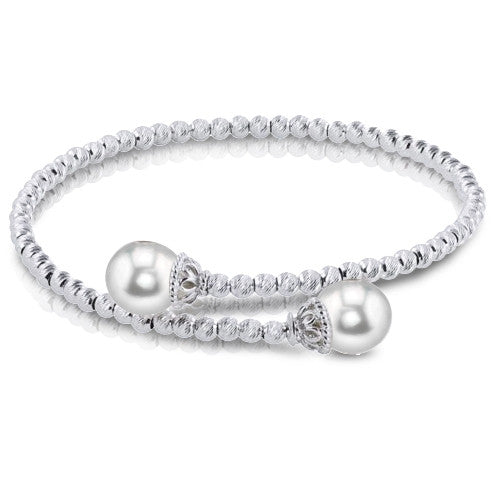 Diamond Cut Sterling Silver and Cultured Pearl Bangle by Imperial
