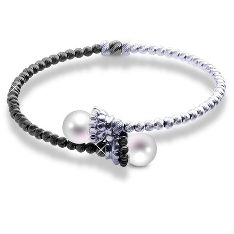 Black and White Sterling Silver and Cultured Pearl Bangle