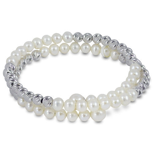 Sterling Silver and Cultured Pearl Bangle by Imperial