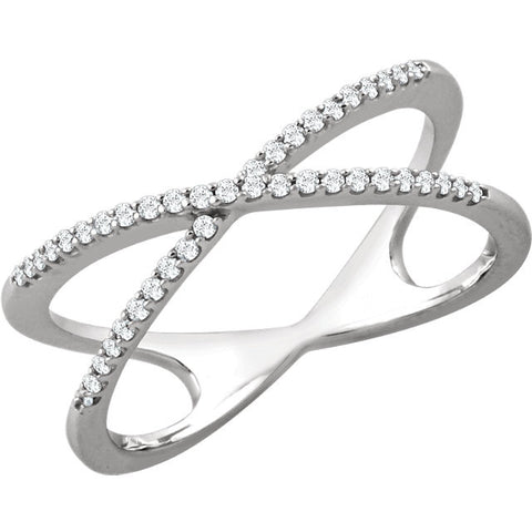 Ladies Chriscross White Gold Diamond Pave Ring in Negative Space Style
