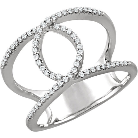 Ladies' Open Space 14k White Gold Diamond Pave Ring