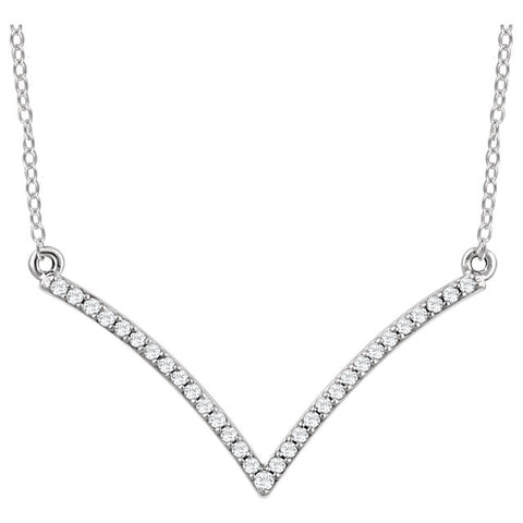 Ladies' V-Shape 14k White Gold Diamond Necklace