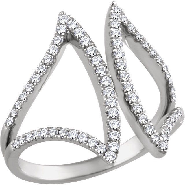 Ladies' Geometric 14k White Gold Diamond Pave Ring in Negative Space Style
