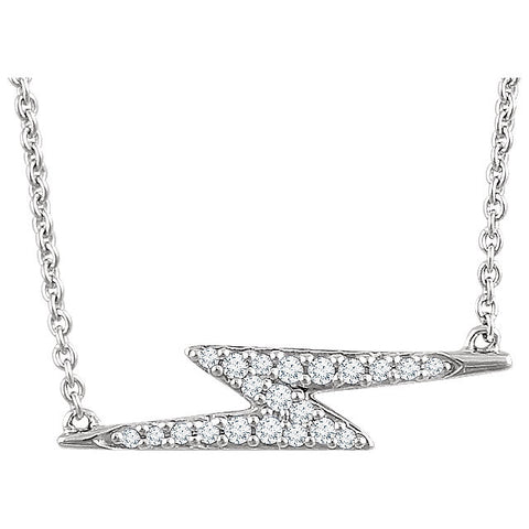 Ladies' Lightning Bolt 14k White Gold Diamond Necklace