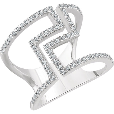 Ladies' Art Deco 14k White Gold Diamond Ring in Negative Space Style