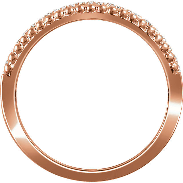 Ladies' Negative Space 14k White and Rose Gold Diamond Pave Ring