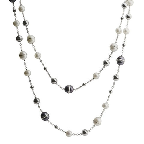 Pearl and Hematite Sterling Silver Necklace Strand