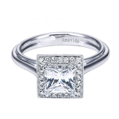 Amavida Platinum Engagement Mounting with Princess Top