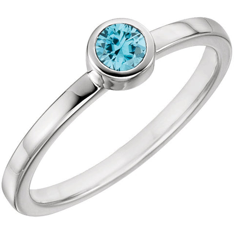 Blue Zircon Bezel Ring