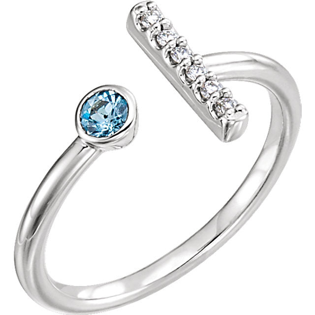 Aquamarine and Diamonds Bar Ring