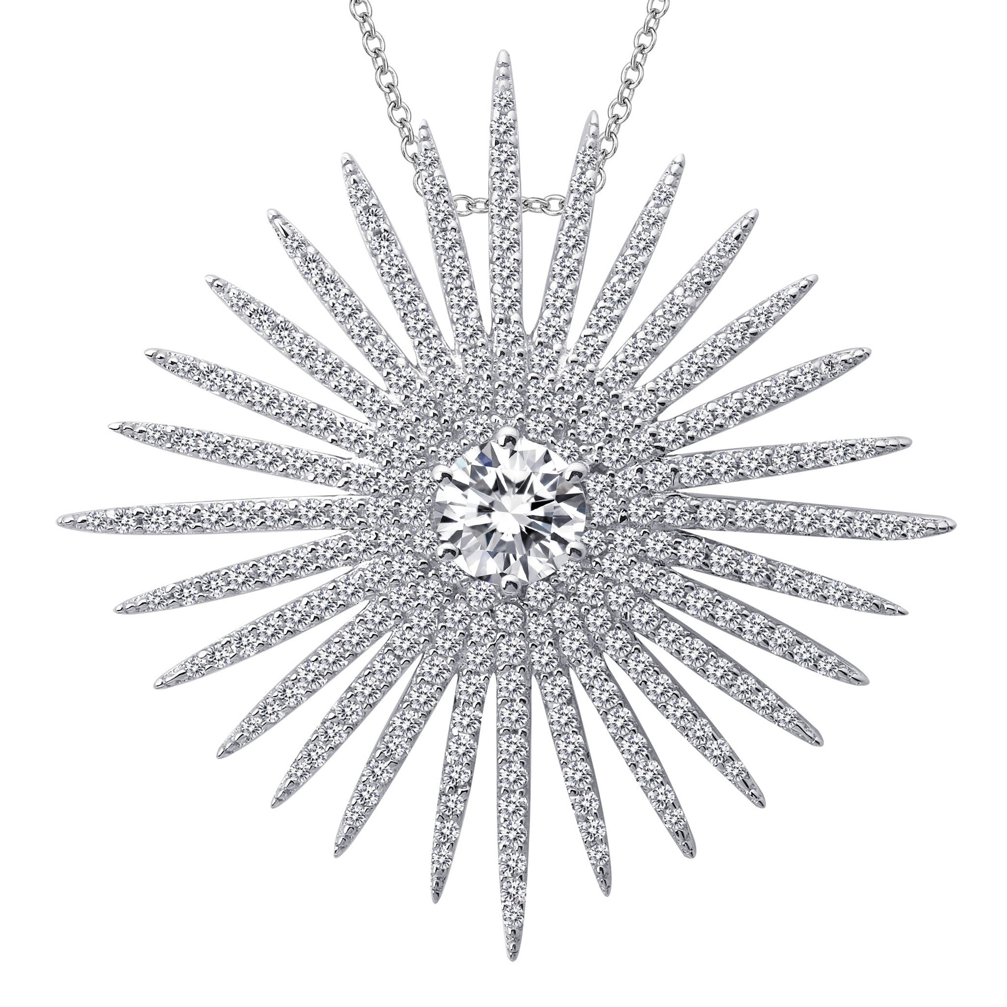 Sterling Silver and Platinum Sunburst Pendant by Lafonn