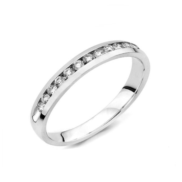Eleven Stone Channel Set White Gold Diamond Band