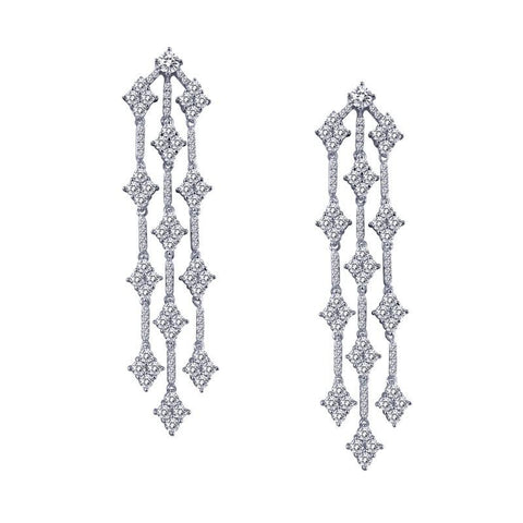 Chandelier Sterling Silver and Platinum Earrings by Lafonn
