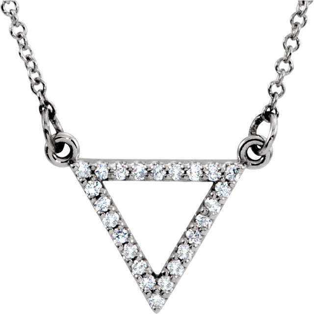 Ladies' Triangular 14k White Gold Diamond Necklace in Negative Space Style