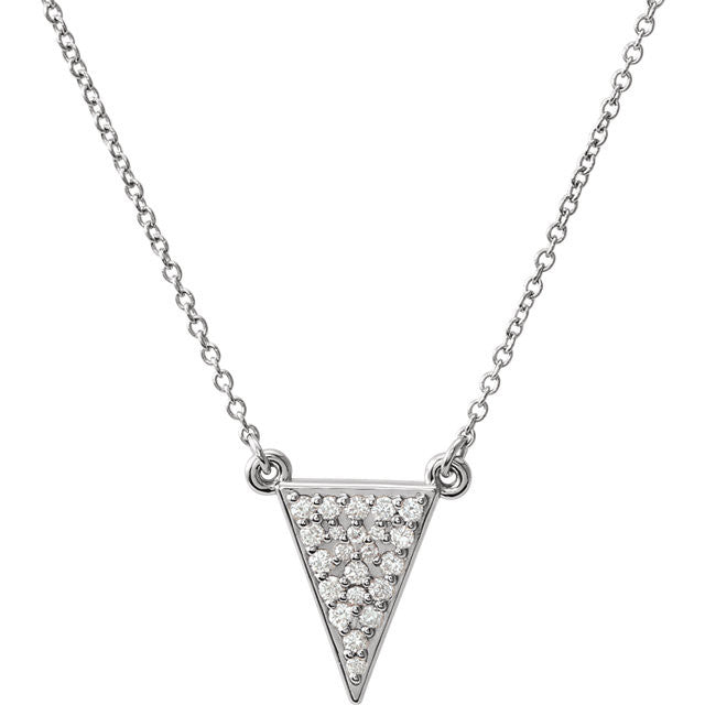 Ladies' Triangle 14k White Gold Diamond Pave Necklace