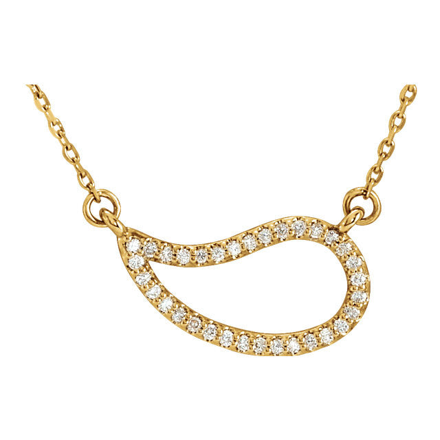 Ladies' Free Form 14k Yellow Gold Diamond Necklace with Negative Space Design