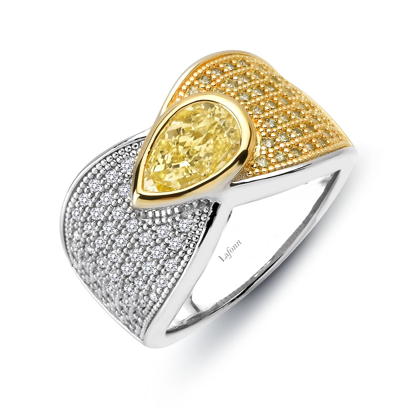 Sterling Silver and Platinum Canary Ring by Lafonn