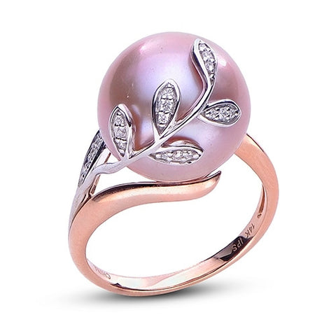 Windsor Pearl 14k Two Tone Gold Ring with Cultured Rose Color Pearl
